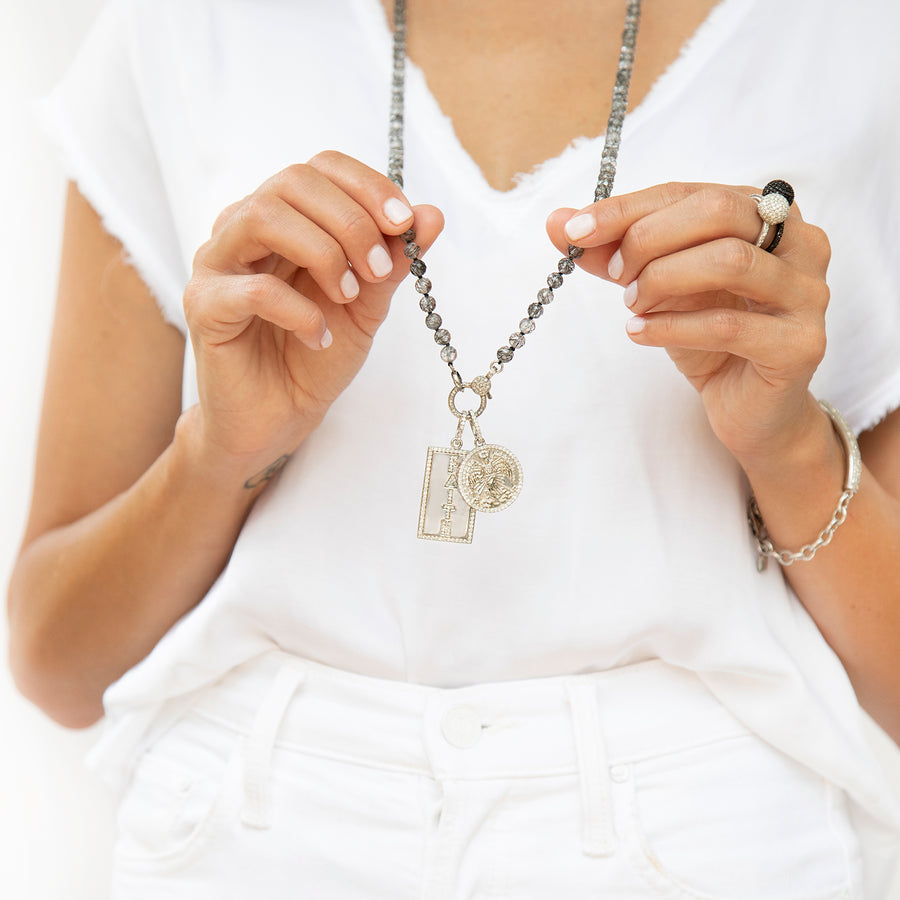 Guardian Angel and Faith on Tourmalinated Quartz Necklace