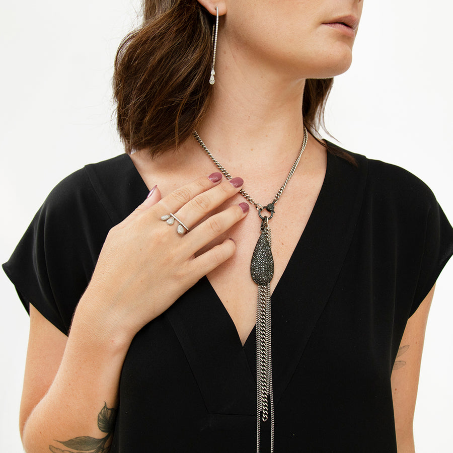 Black Diamond Drop Fringe Necklace