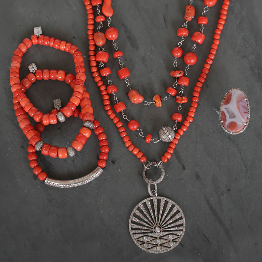 Antique Italian Red Coral Necklace with Diamond Sunset Pendant