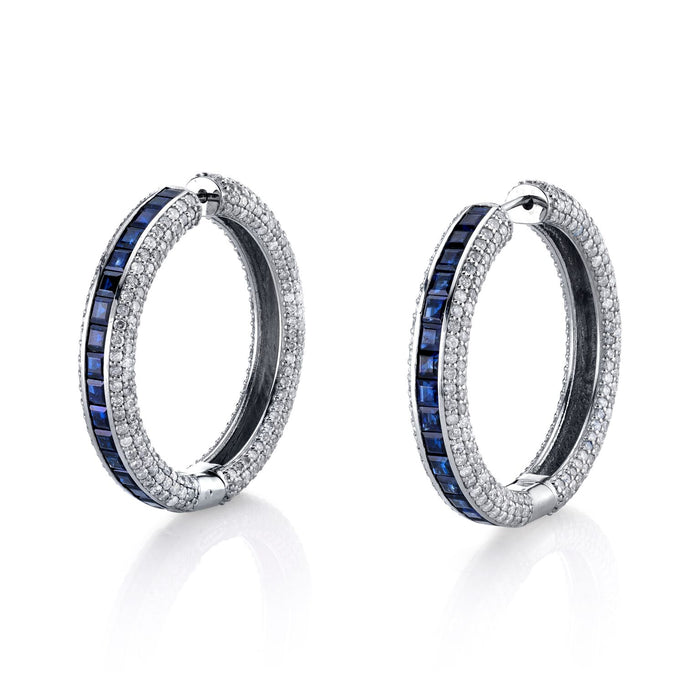 DIAMOND AND SAPPHIRE BAGUETTE HOOPS