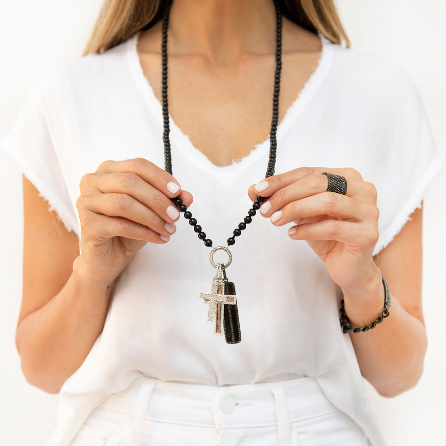 Black and White Diamond Triple Cross Necklace