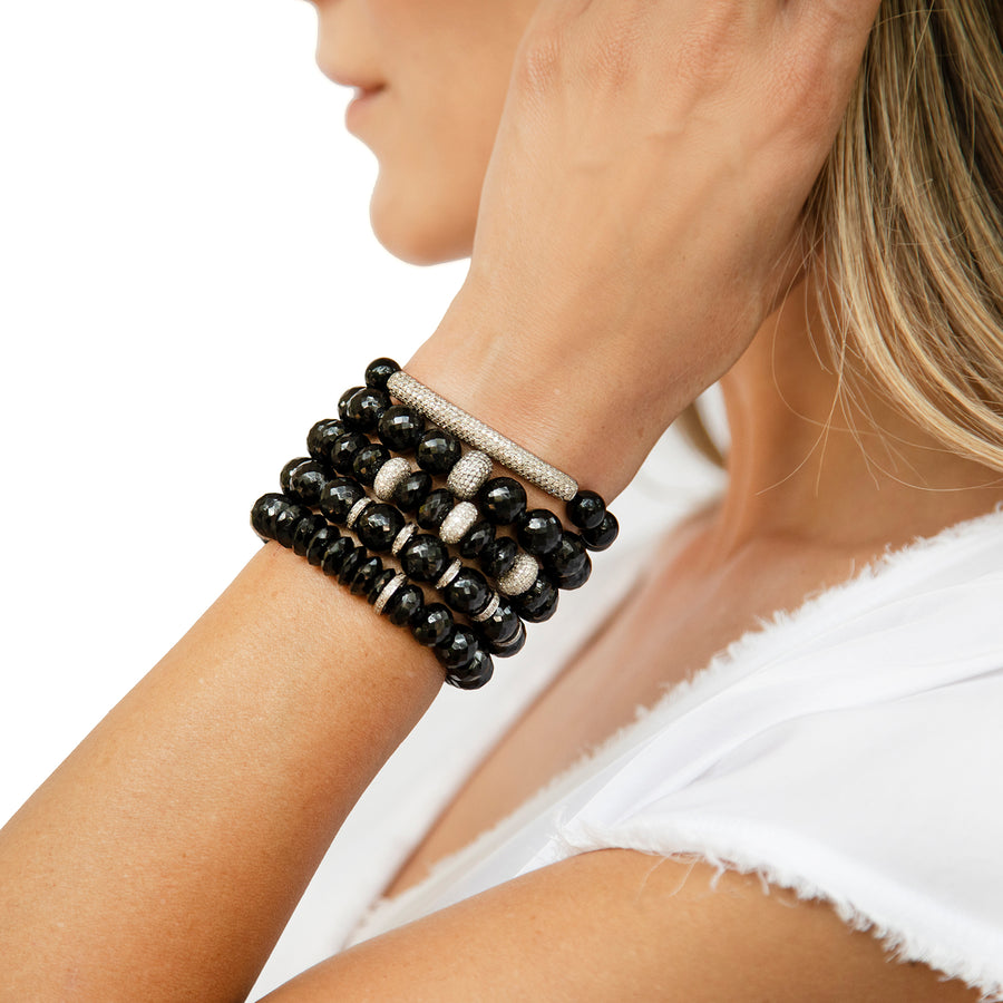 Faceted Spinel Bracelet with Diamond Rondelles