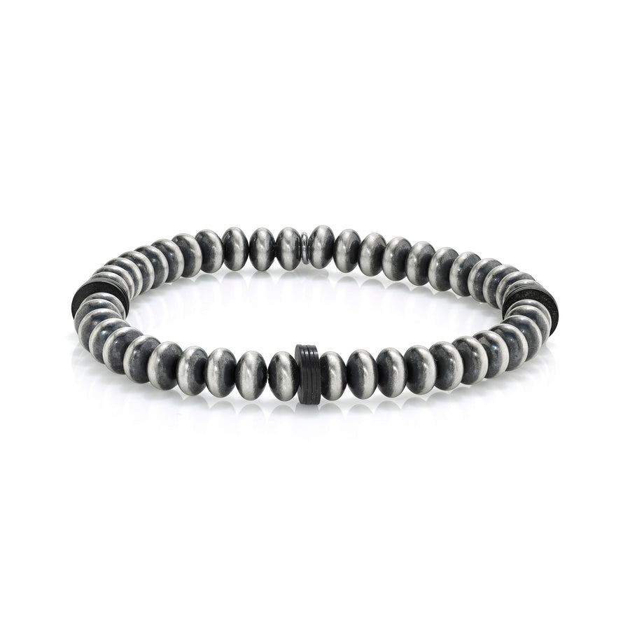 Mr. LOWE Sterling Silver Bracelet with Black Vinyl Rondelles