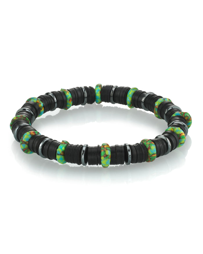 BLACK VINYL BRACELET WITH AFRICAN BEADS