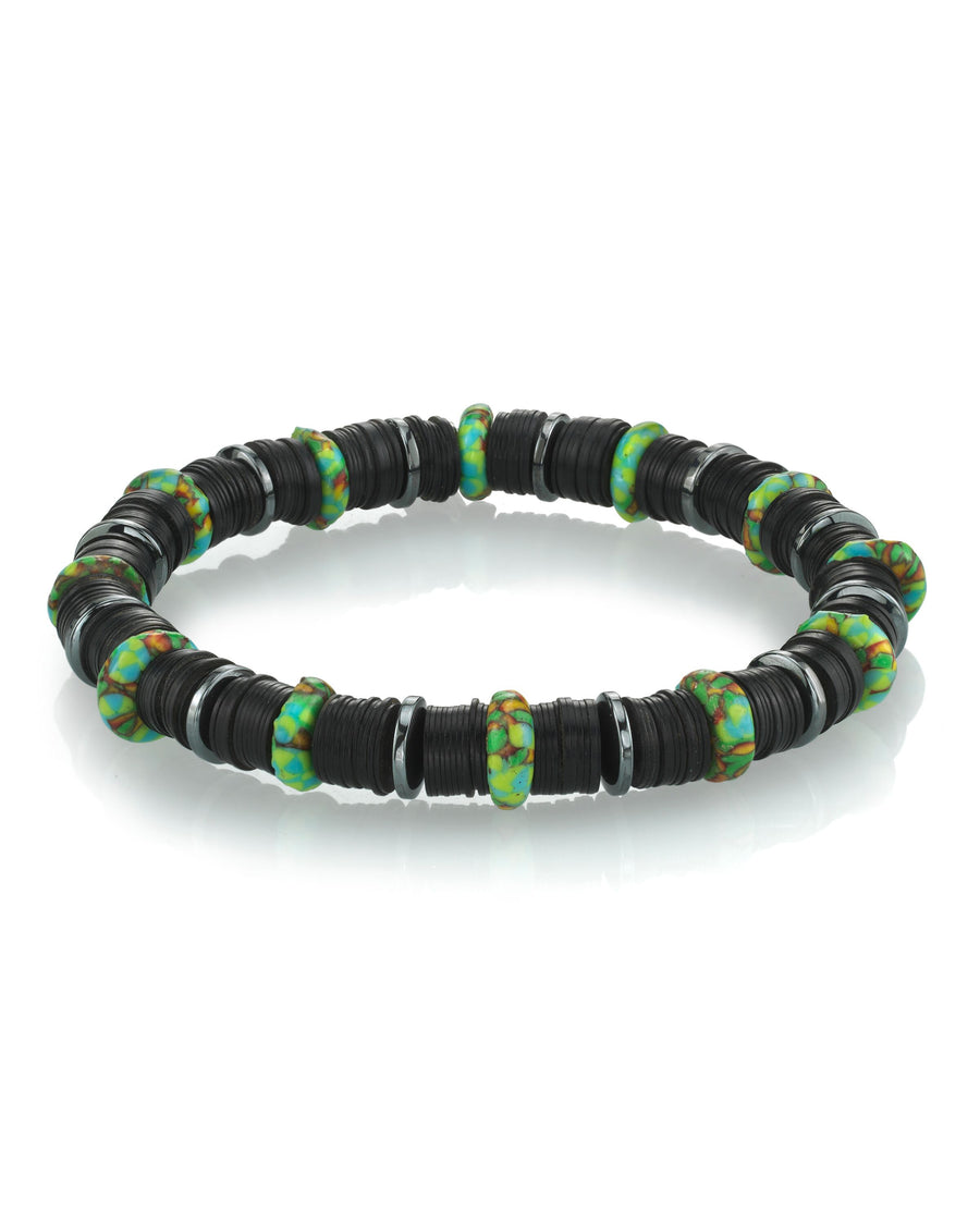 Mr. LOWE Black Vinyl Bracelet with African Beads