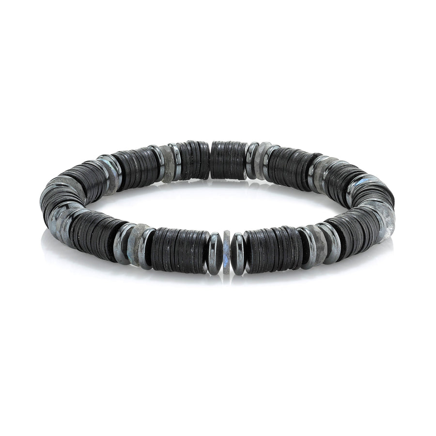 Mr. LOWE Black Mixed Gemstones and Vinyl Bracelet