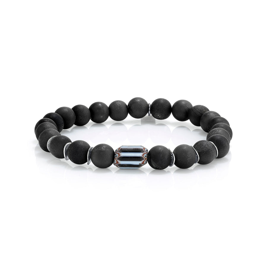 Mr. LOWE Black Druzy Agate Bracelet with African Bead and Silver Discs
