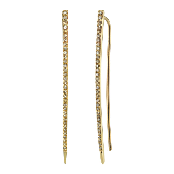 14K GOLD PAVÉ DIAMOND SPIKE EARRINGS