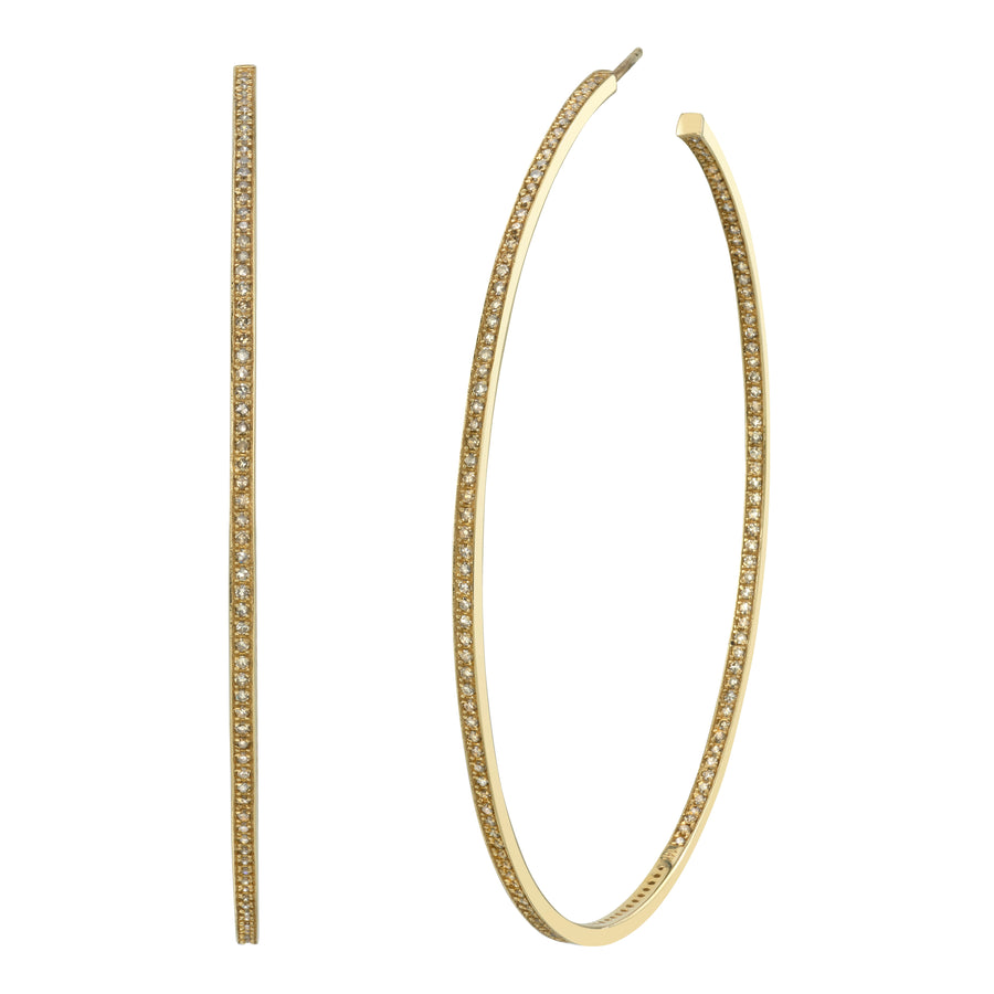 14k Gold Pavé Diamond Inside Out Hoop Earrings