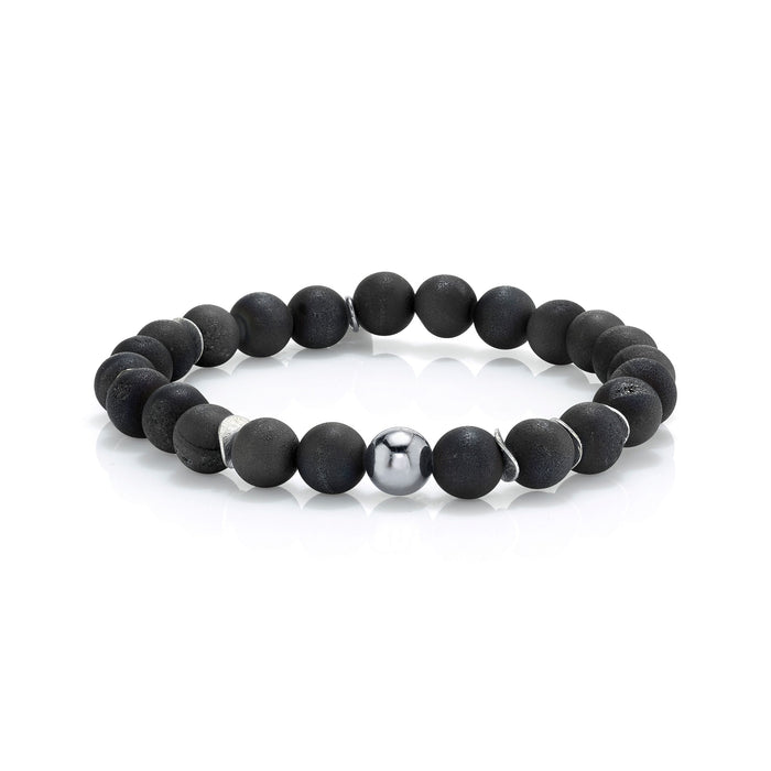 BLACK DRUZY AGATE BRACELET WITH SILVER BEAD AND DISCS