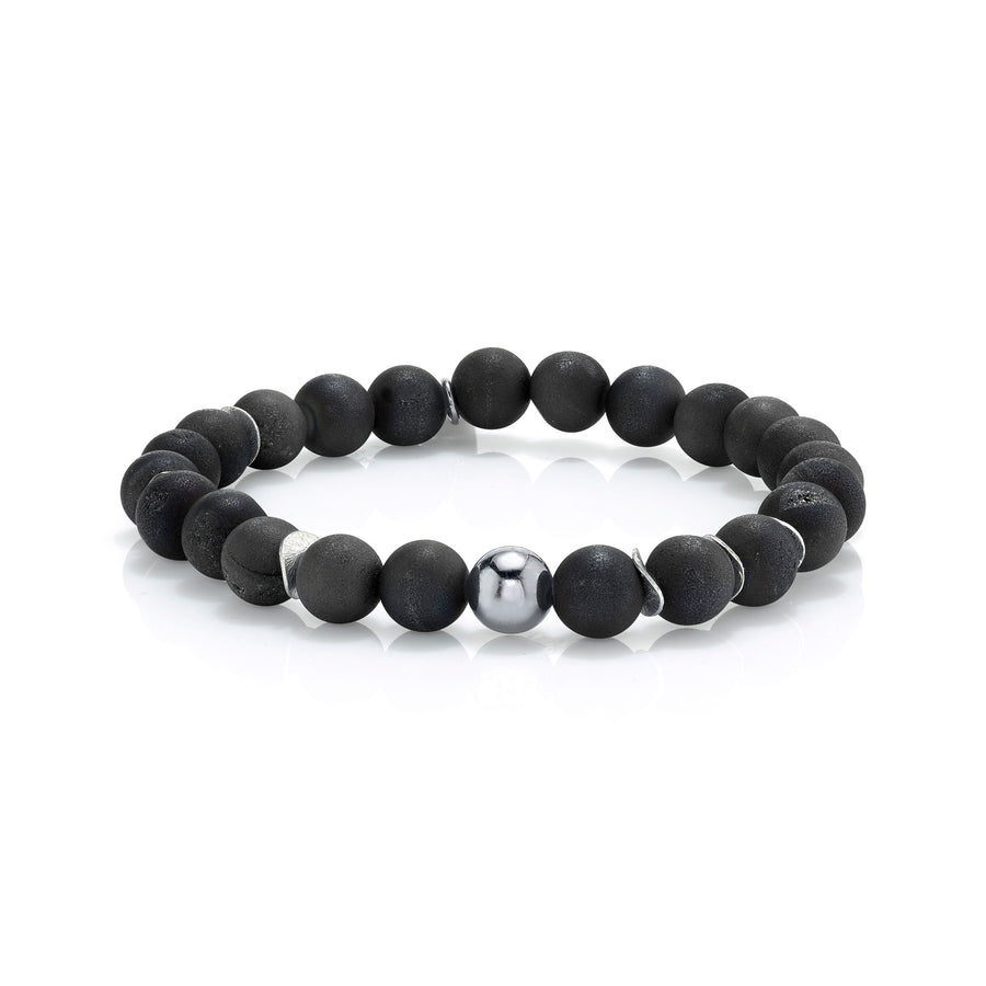 Mr. LOWE Black Druzy Agate Bracelet With Silver Bead And Discs