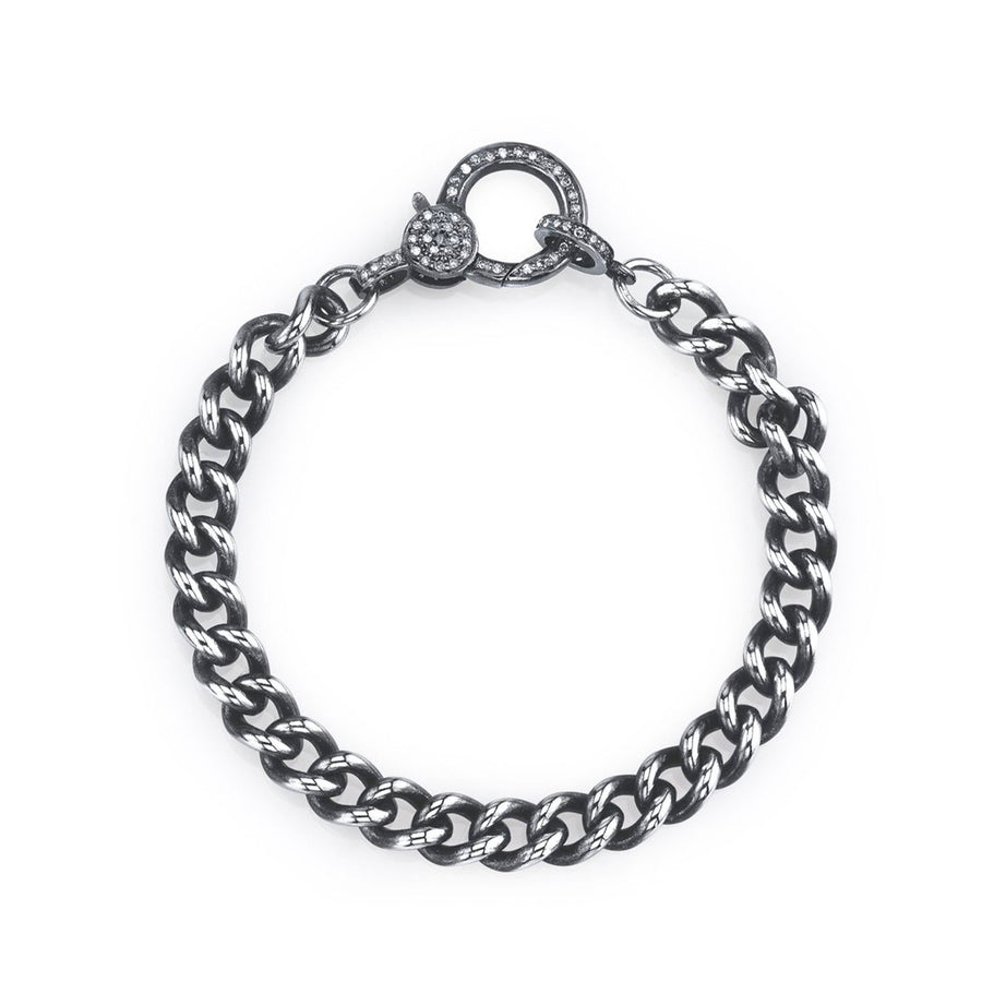 Curb Chain Bracelet with Diamond Clasp
