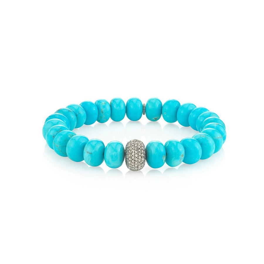 Turquoise Bracelet With One Diamond Donut
