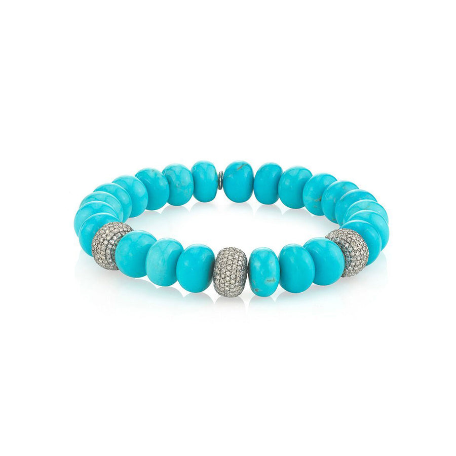 Turquoise Bracelet with Three Diamond Donuts