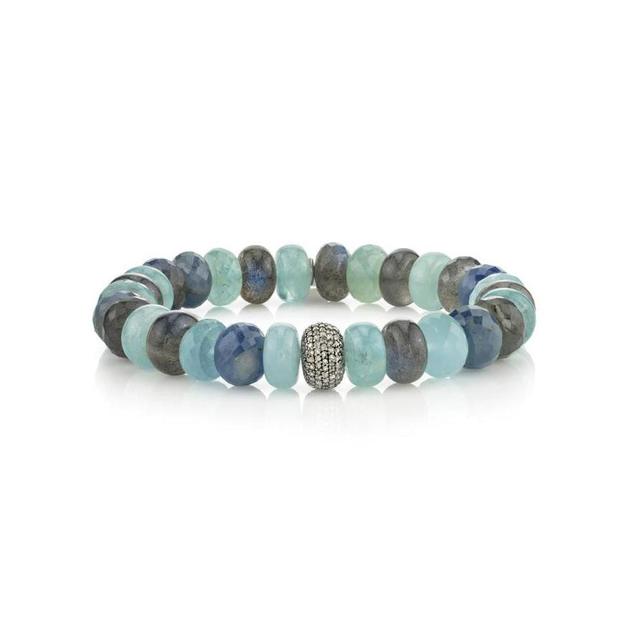 Blue Green Mixed Gemstone Bracelet With Diamond Donut