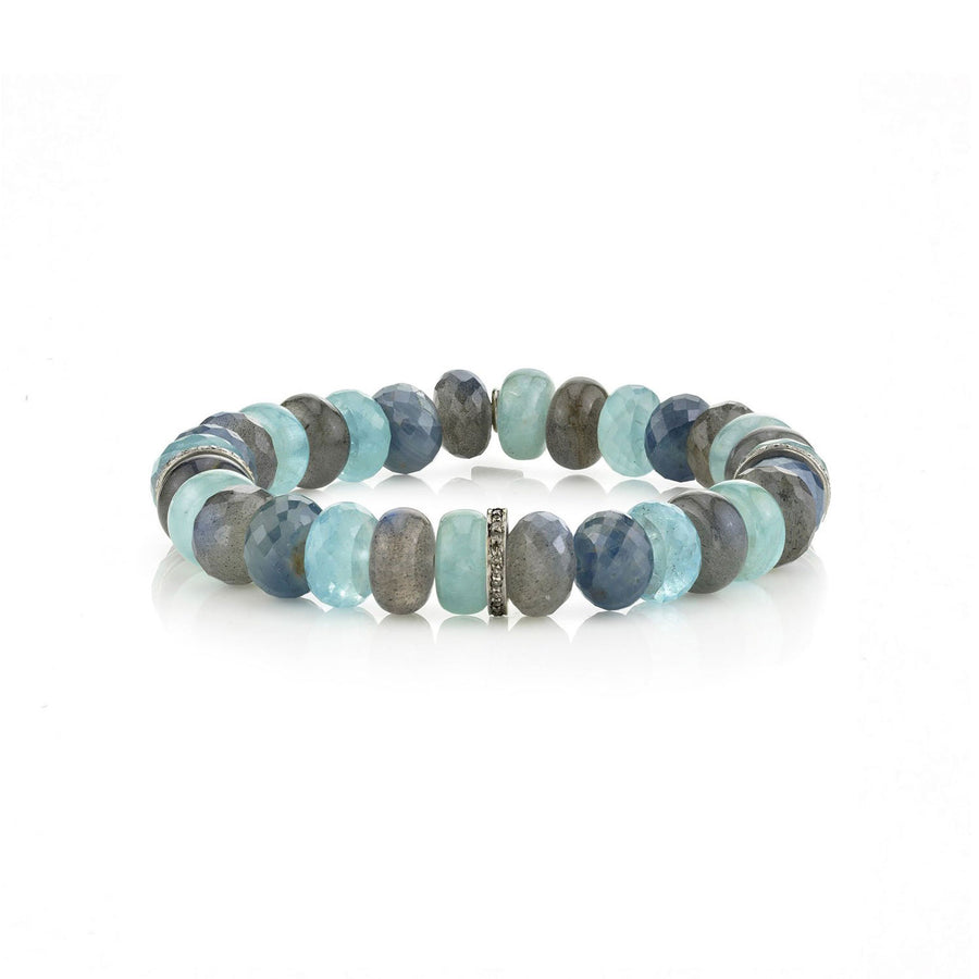 Blue Green Mixed Gemstone Bracelet with Three Diamond Rondelles