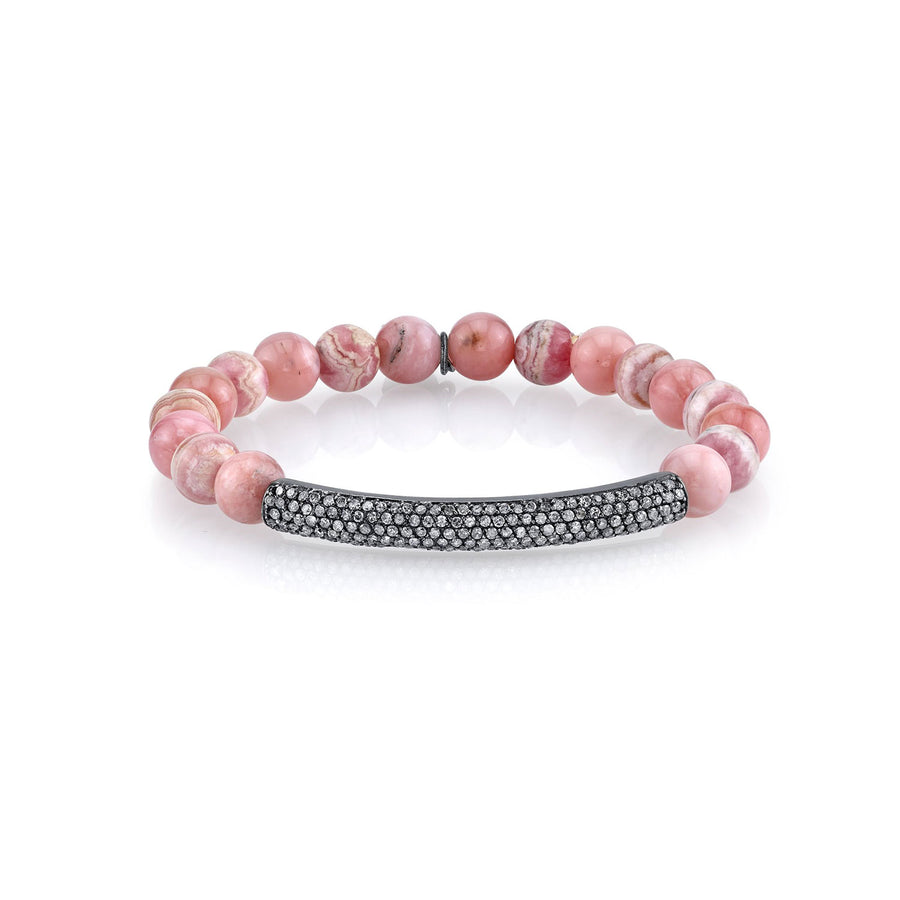 Rhodochrosite and Pink Opal Bracelet With Diamond Curved Bar