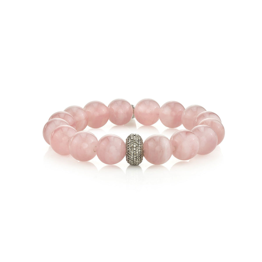 Rose Quartz Bracelet with Pavé Diamond Donut