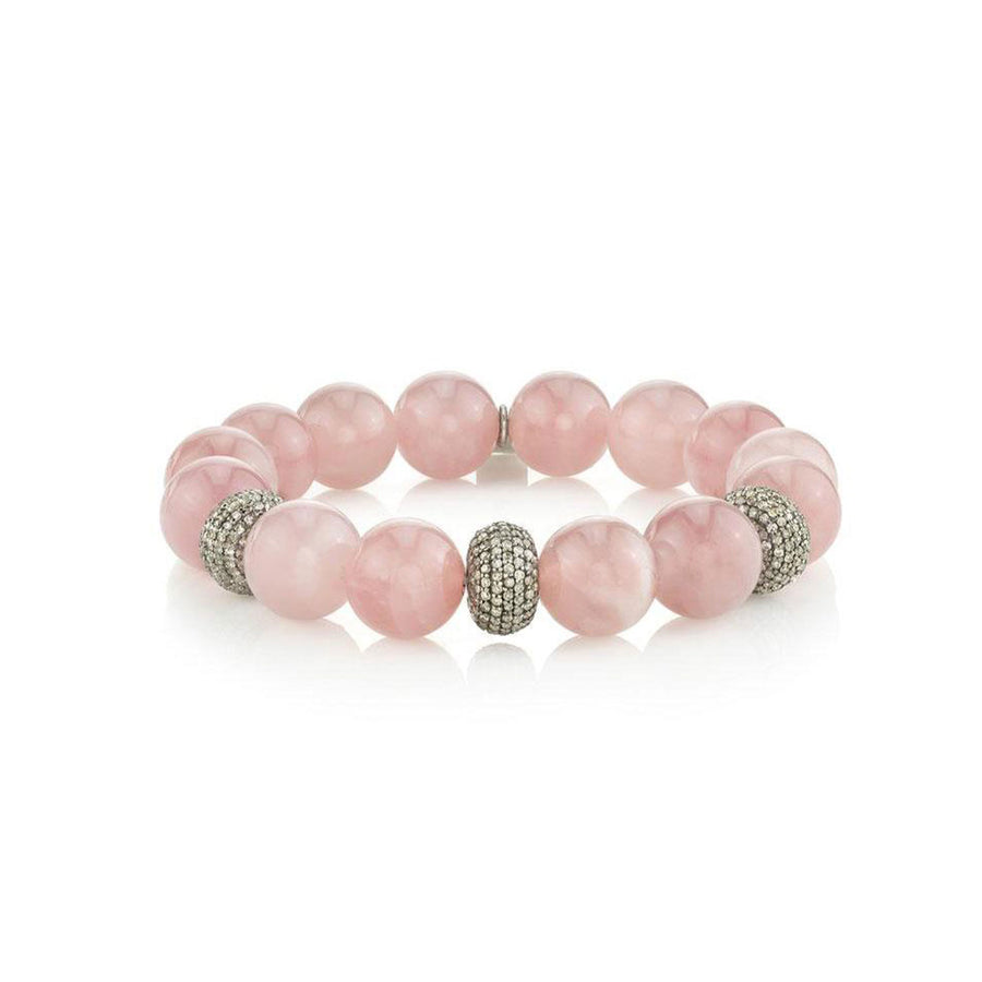 Rose Quartz Bracelet with Three Pavé Diamond Donuts