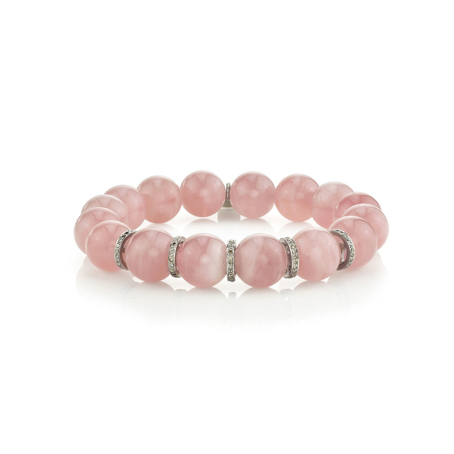 Rose Quartz Bracelet with Five Pavé Diamond Rondelles