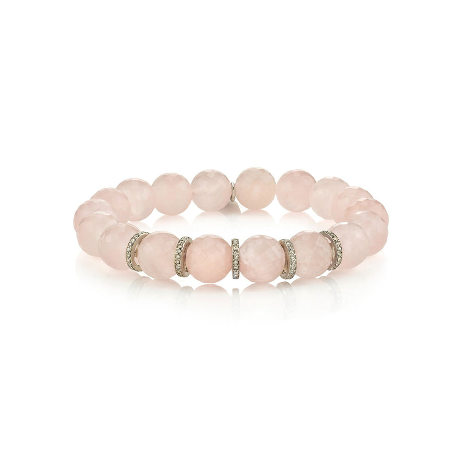 Faceted Rose Quartz Bracelet with Five Diamond Rondelles
