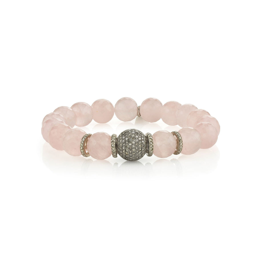 Rose Quartz Bracelet with Pavé Diamond Donut and Four Rondelles
