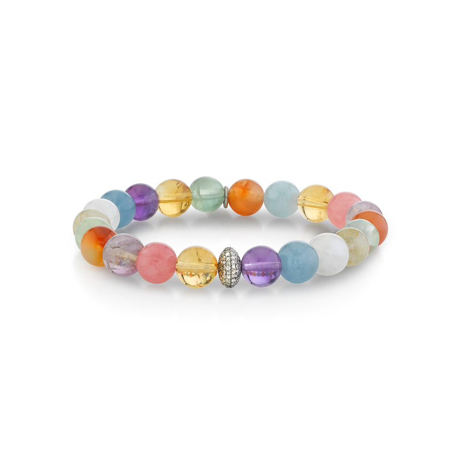 Chakra Stone Bracelet with Diamond Donut Bead