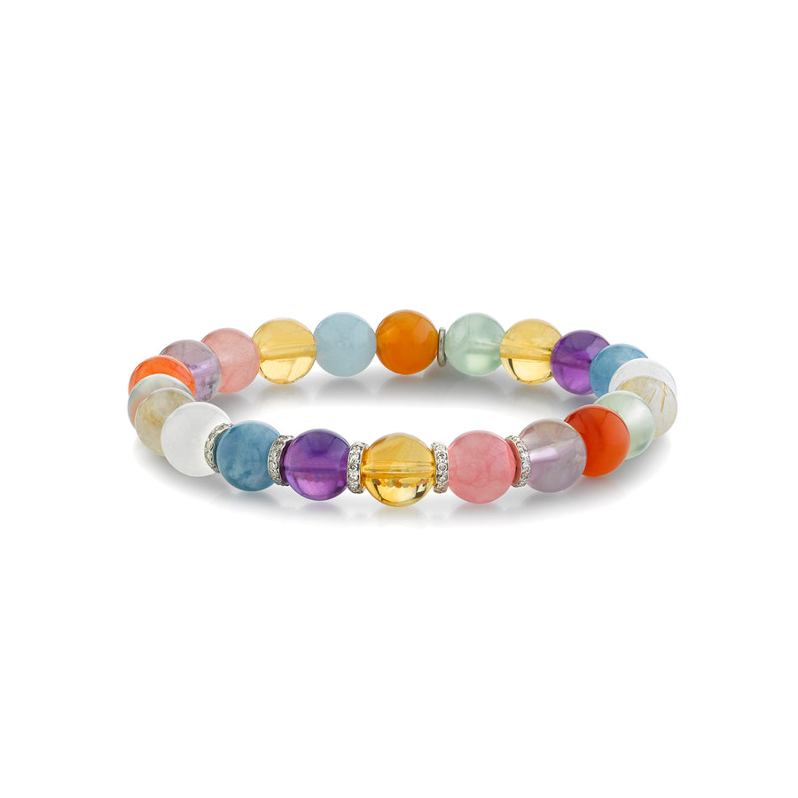 Chakra Stone Bracelet with Diamond Rondelles