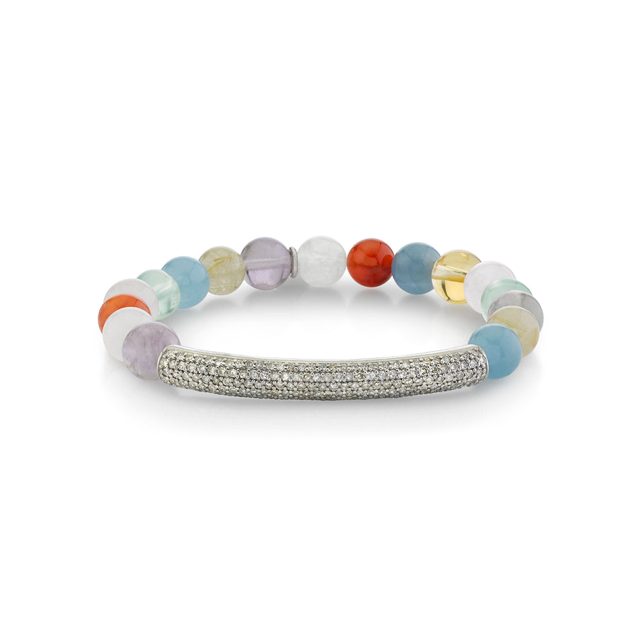 Chakra Stone Bracelet with Diamond Bar