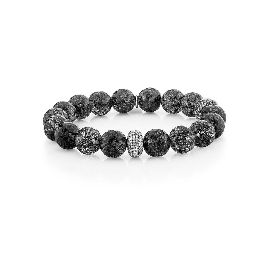 Tourmalinated Quartz Bracelet with Diamond Donut Bead