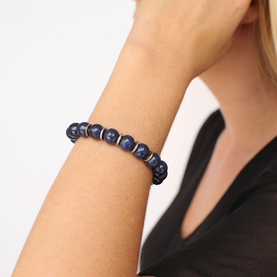 Denim Quartz Bracelet with Diamond Rondelles