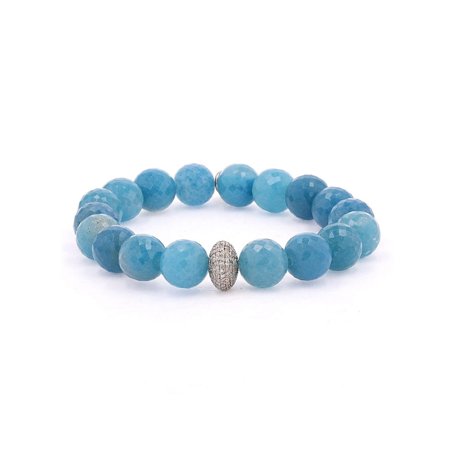 Blue Paraiba Quartz Bracelet with Diamond Donut