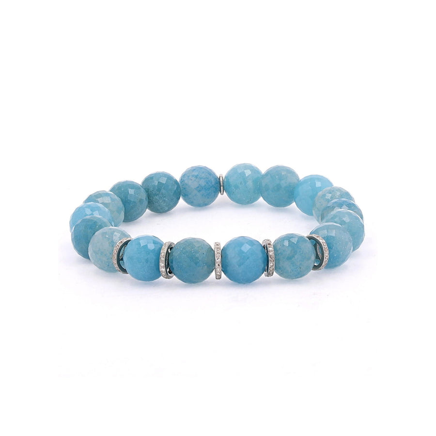 Blue Paraiba Quartz Bracelet with Diamond Rondelles