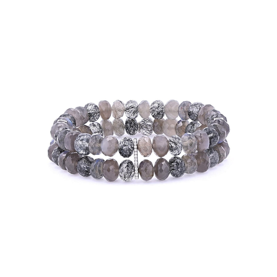 Smokey Mix Stone Stacked Bracelet