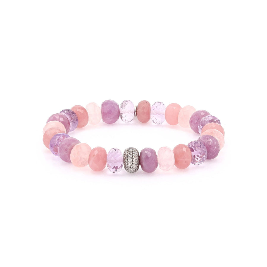 Sunset Gemstone Mixed Bracelet with Diamond Donut