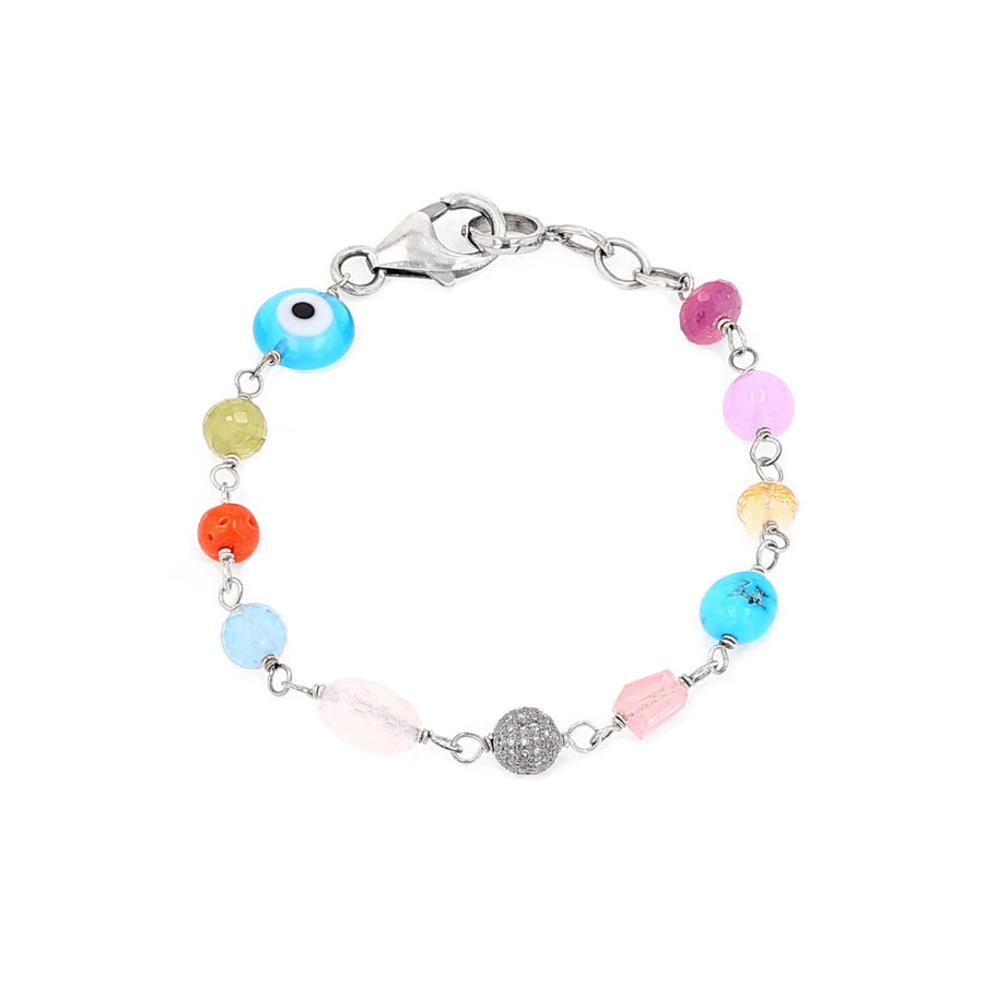 Chakra Mix Stone and Diamond Layering Bracelet