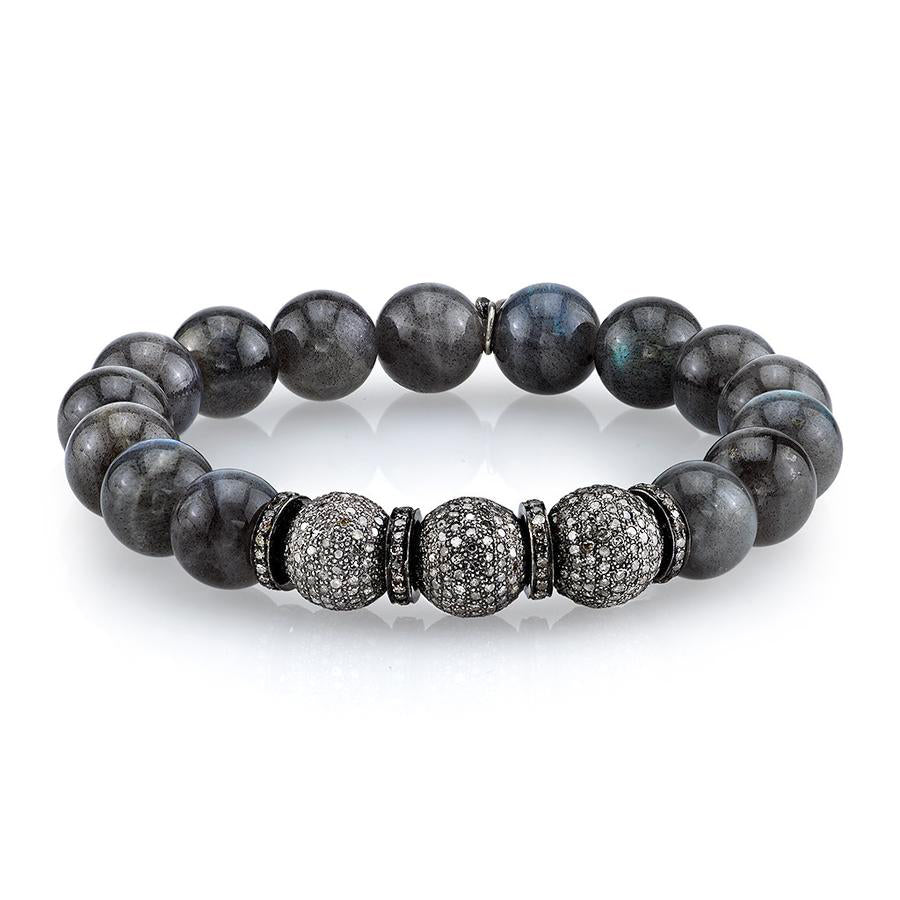 Labradorite Bracelet With Three Diamond Beads