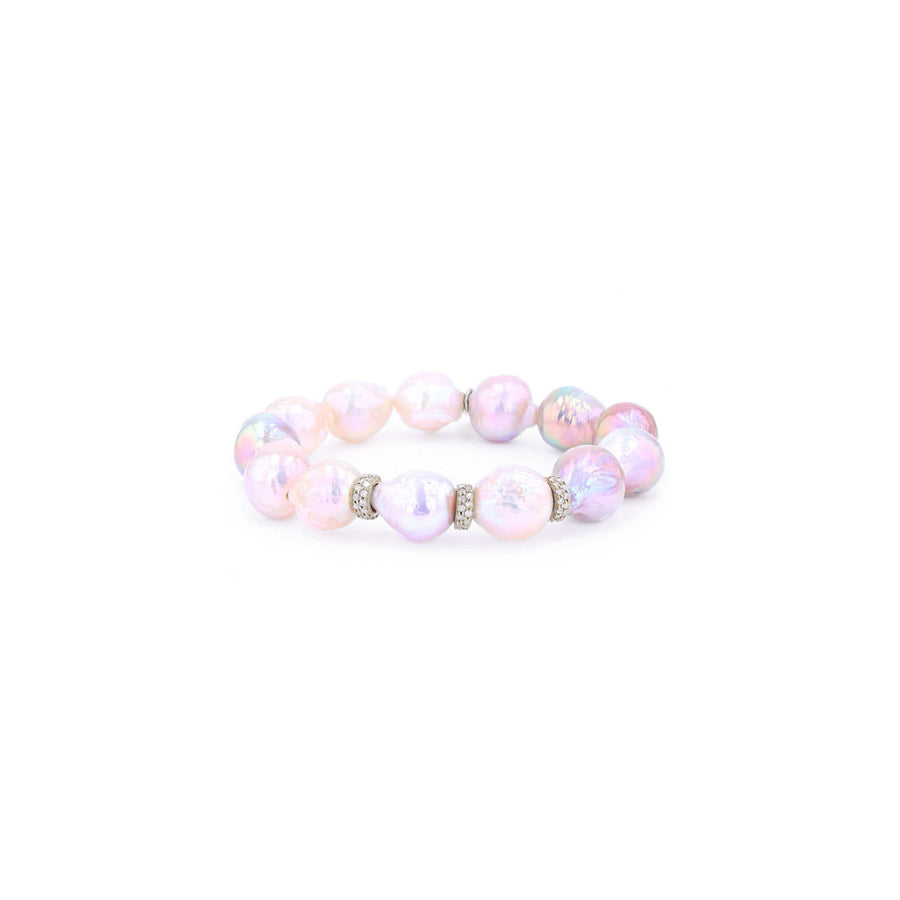 Pale Pink Baroque Pearl Bracelet with 14k Diamond Rondelles