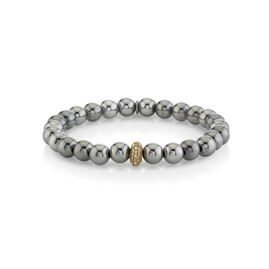 Silver Bali Bead Bracelet with 14k Diamond Donut