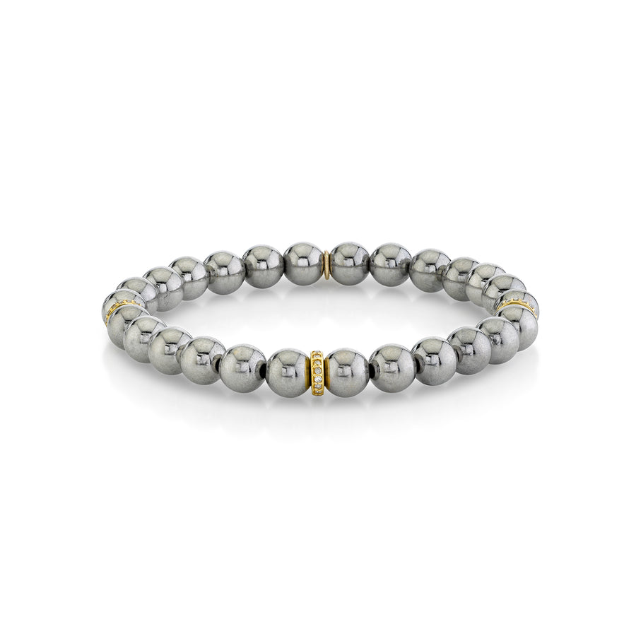 Silver Bali Bead Bracelet with 14k Diamond Rondelles