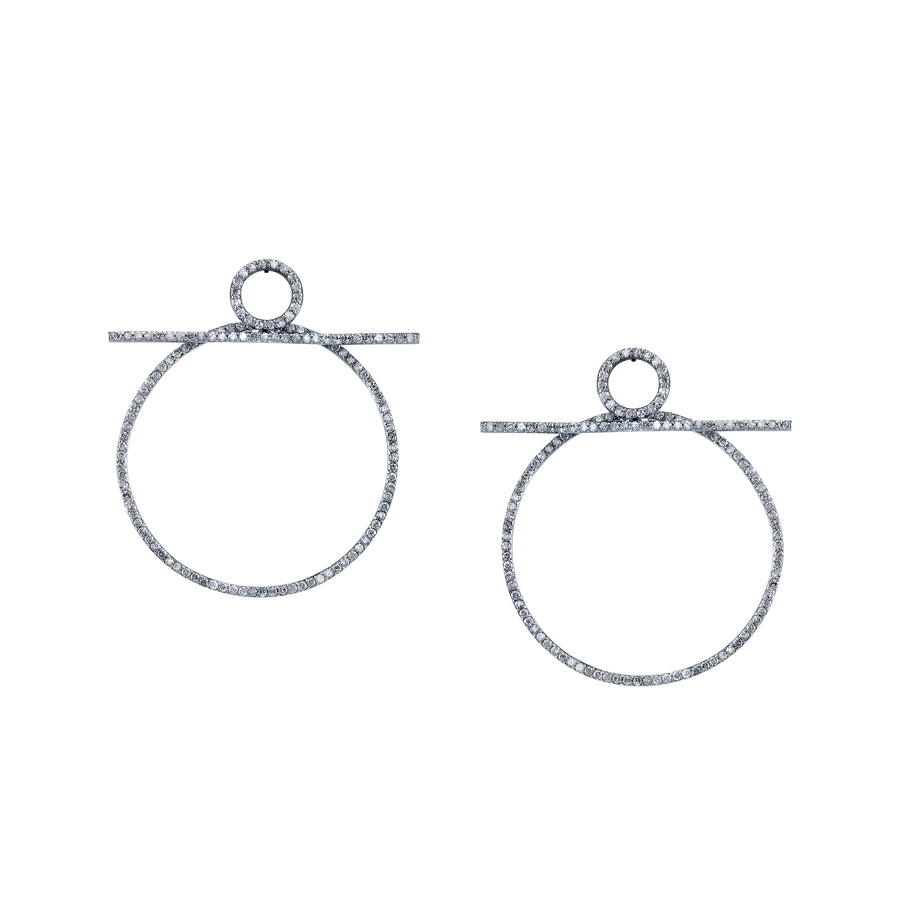 Pavé Diamond Bar Hoop Earrings