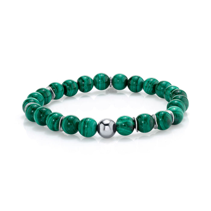 MALACHITE BRACELET WITH SILVER BEAD AND DISCS
