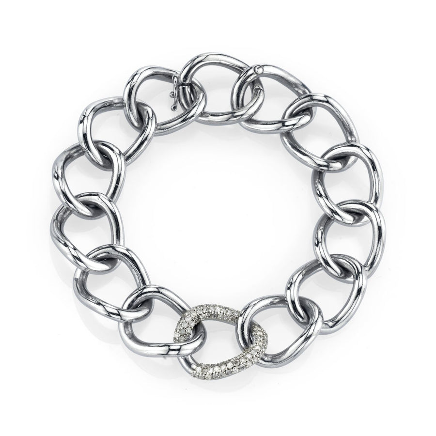 London Link Chain Bracelet With One Diamond Link