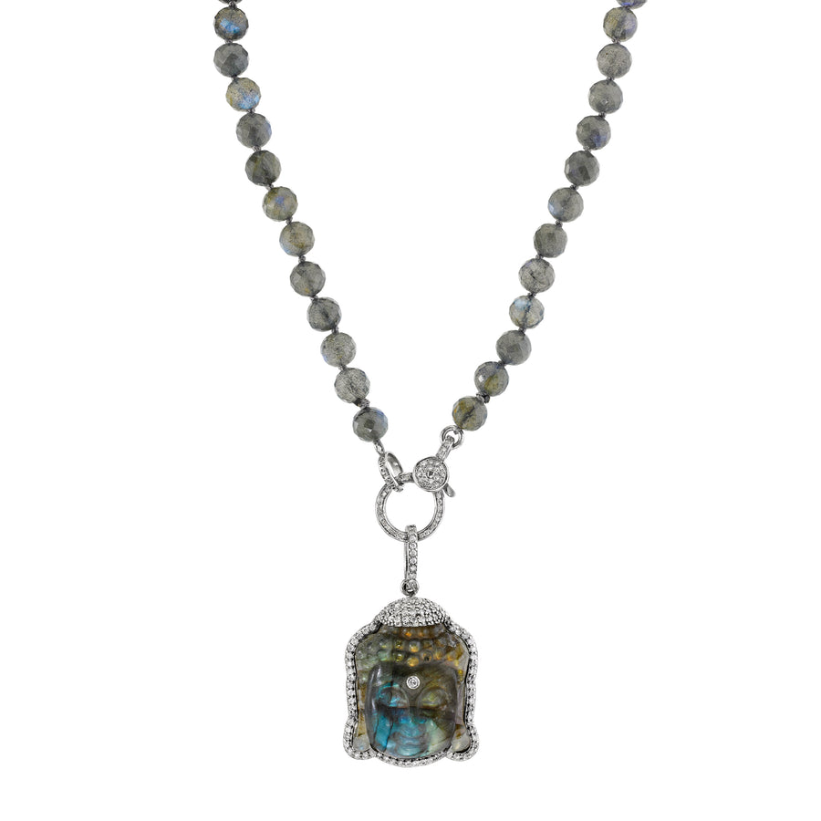Labradorite Buddha Knotted Necklace