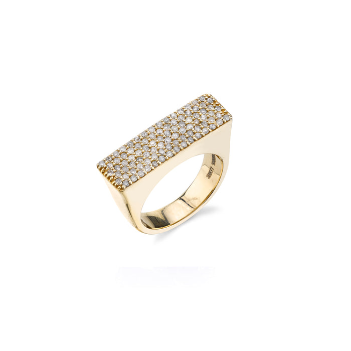 14K Gold Pavé Bar Ring
