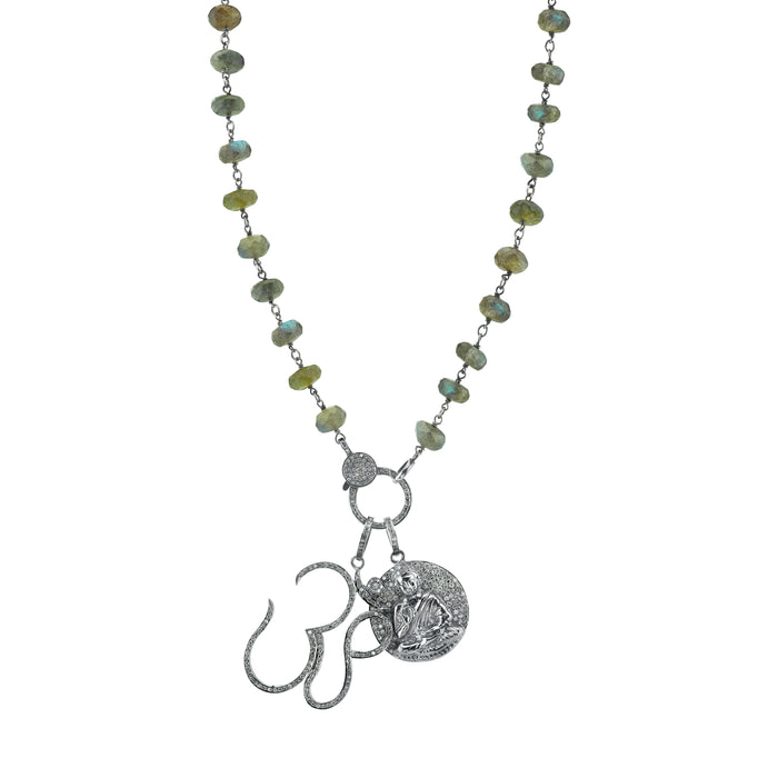 Labradorite Necklace with Pavé Diamond Ohm and Sitting Buddha