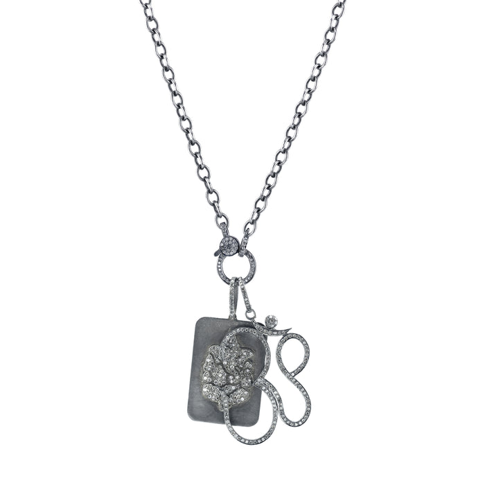 Link Chain Necklace with Pavé Diamond Ohm and Ganesh Tag