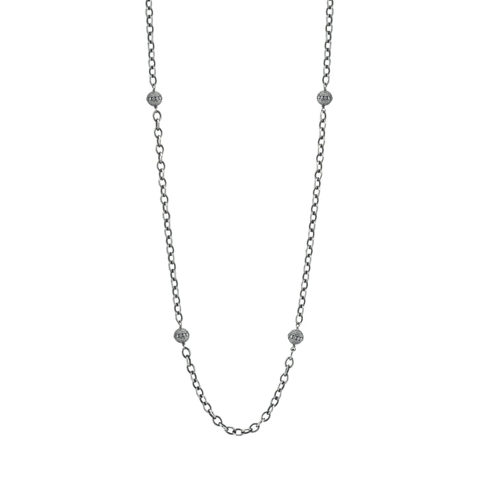 Bezel Diamond Bead Link Chain Necklace