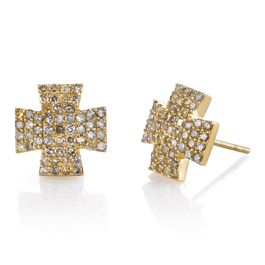 14k Gold Maltese Cross Earrings