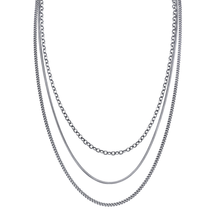 Layered Chain Necklace with Pavé Diamond Clasp